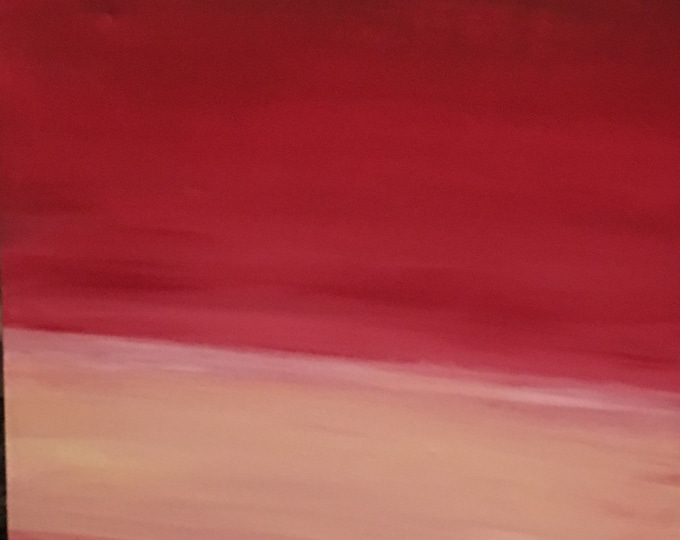 Red and White Stripe Oil on Canvas