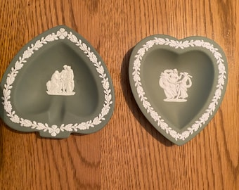 Wedgwood Jasperware Sage Green Heart Shaped Dish Pair