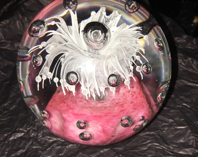 Large Pink and White Paperweight