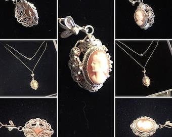 Victorian Italian Filigree Cameo Necklace 800 silver