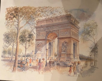 Arc de Triomphe Watercolour Print by Legai