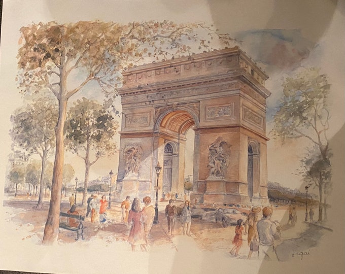 Arc de Triomphe Watercolour Print by Legai