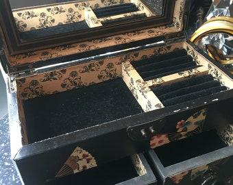 Vintage Black Faux Leather Jewellery Box