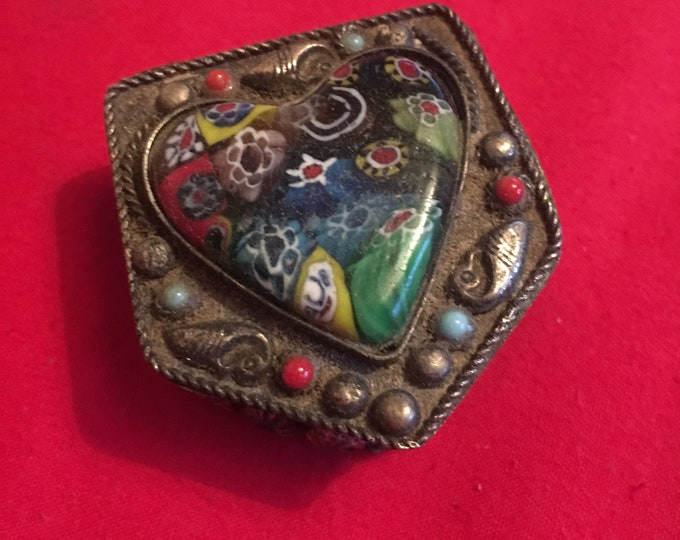 Ring Box with Limpets and Millefiori Glass Heart Stone