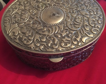 Oval Embossed Jewellery Box