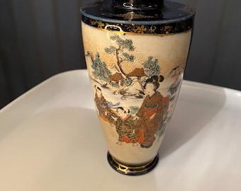 Japanese Cobalt Blue Satsuma Vase