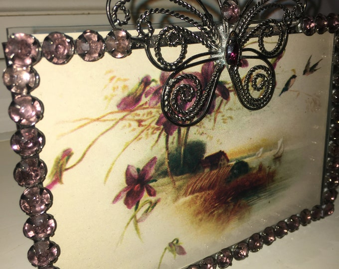 Vintage Two's company Rhinestone Butterfly Frame