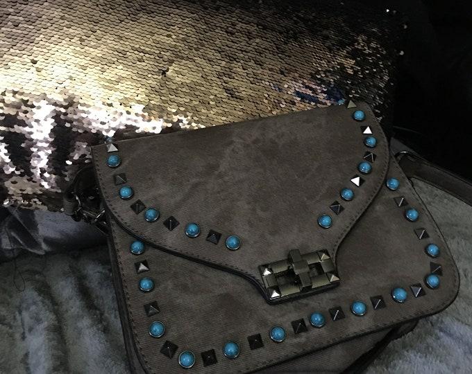 Turquoise Stones Brown Shoulder Bag