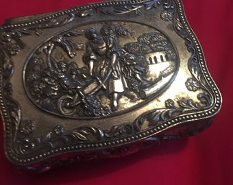 Silver Plated Embossed Jewellery Box