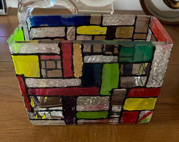 Mondrian Style Glass Vase