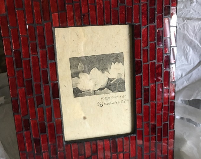 Red Glass Mosaic Photo Frame