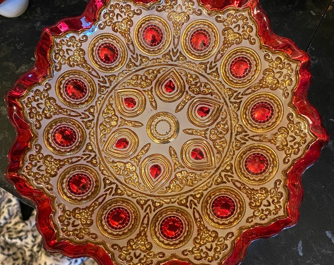 Red and Silver metallic Bowl