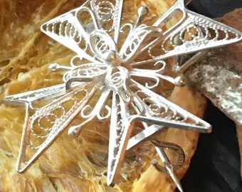 Silver Maltese cross Filigree brooch