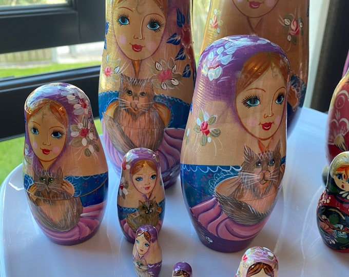 Featured listing image: Nesting Dolls Lady with cats