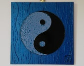 Yin-Yang quot Water quot Collection - Feng Shui painting, original and contemporary, with impasto and lacquered effect, blue and black color