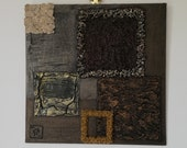 Origin quot Earth quot Collection - Feng Shui painting, original and contemporary, with impasto and stone inlay, brown color
