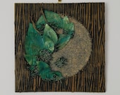 Yin-Yang quot Bois quot collection - Feng Shui painting, modern and original, with wood collage, vegetation, jute, iridescent green color