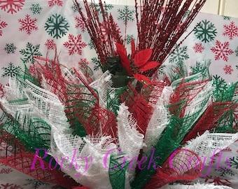 19-Inch Red Homeford Buffalo Plaid Poinsettia Floral Pick