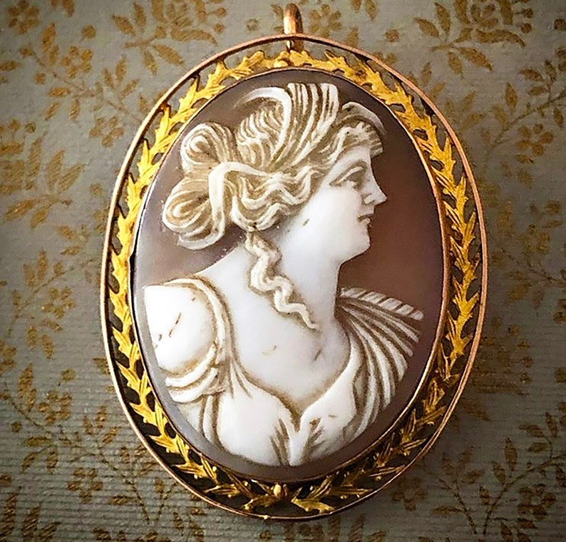 Antique Carved Shell Cameo pin and pendant Set in Rose and image 0