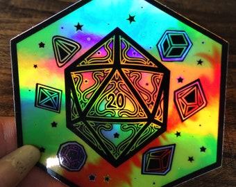 Holographic Nat 20 Dice Sticker
