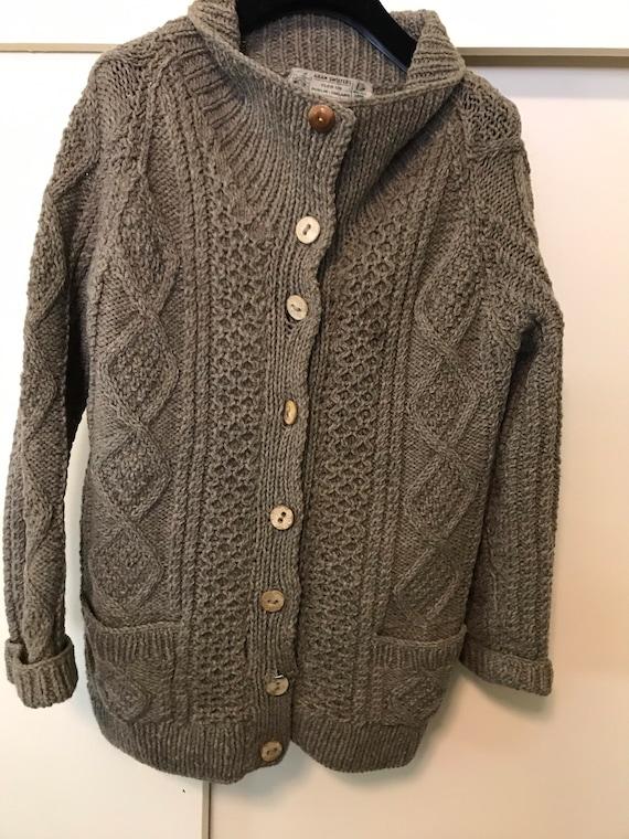 Vintage Aran Sweaters Cleo Ltd Irish Wool Knit Car