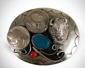 Authentic Vintage Sterling Silver Navajo Indian Buffalo Belt Buckle