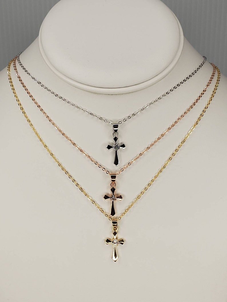 Cross Necklace Gift for Her, Rose Gold Cubic Zirconia Cross Necklace 16k Gold Plated Charm Necklace Gifts for Girlfriend Rhodium
