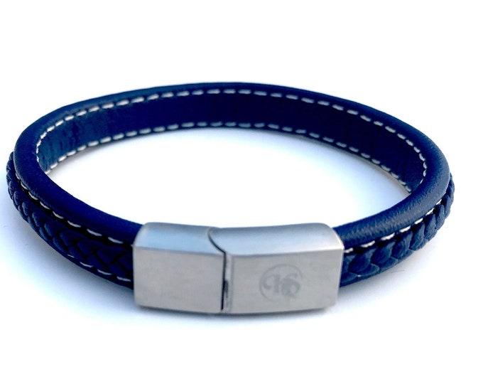 Blue Italian Braided Leather Men's Magnetic Bracelet