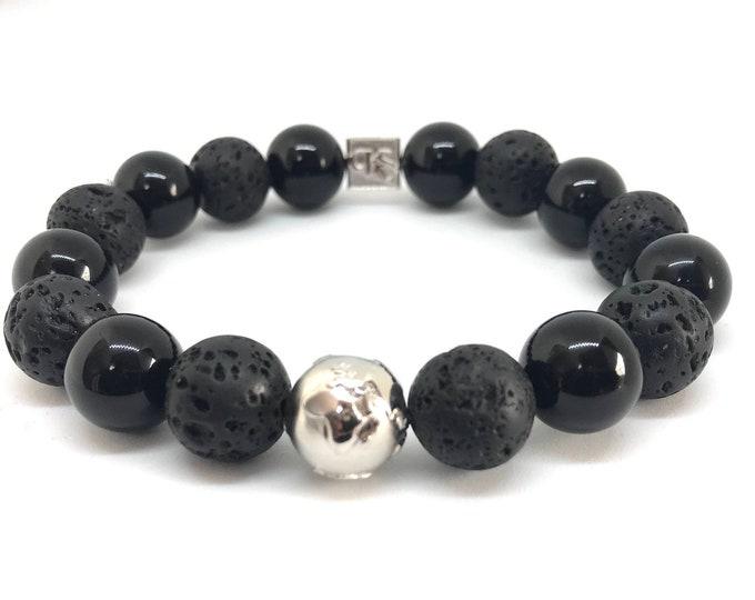 Black Onyx, Lava & Sterling Silver Globe Beaded Premium Bracelet
