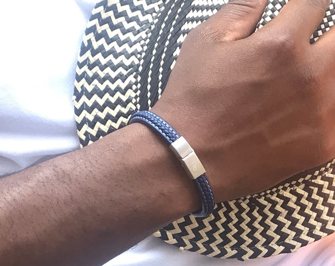 Featured listing image: Blue Italian Braided Leather Men's Magnetic Bracelet