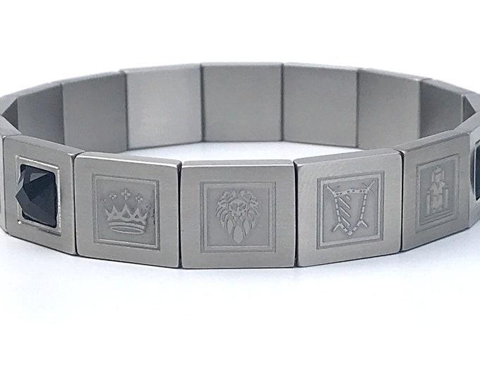 Stainless & Steel Black Onyx Mens King Bracelet