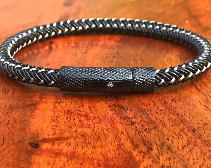 Mens Stainless Steel Braided Black & Silver Bracelet with Push Button Clasp