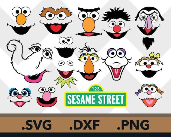 Sesame Street Svg Files Snuffleupagus Sesame Street Dxf Ernie Bert Face Grouch Zoe Rosita Cricut Count Dracula Svg File Instant Download