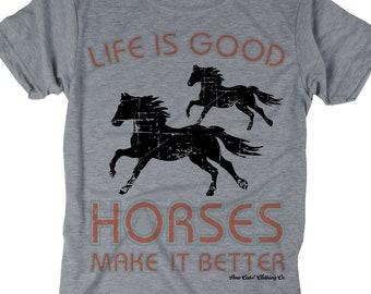 23347f9c28c806 Life is Good - Horses - Cowgirl - Ranch tee