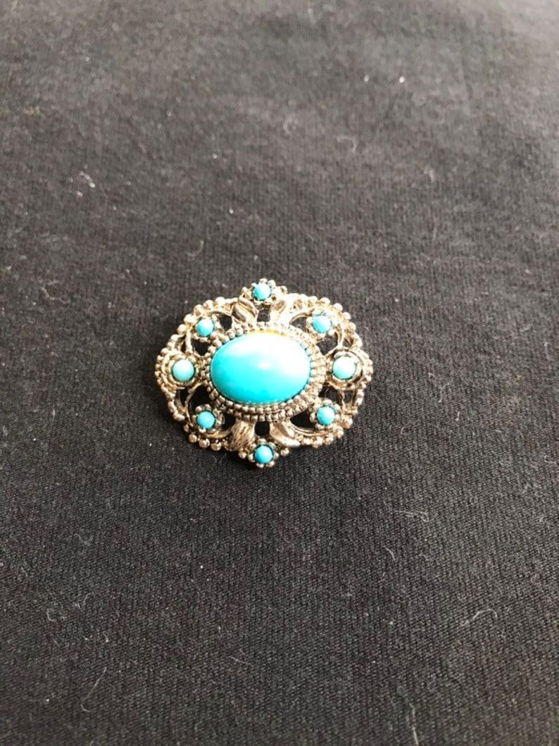 Vintage Turquoise Cluster Brooch