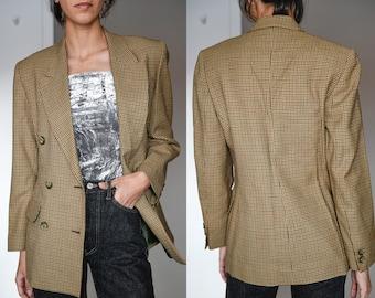 Vintage Double Breasted CheckPrint Blazer / Vintage Check Board Blazer / Vintage Boyfriend Blazer / Beige Button Up Blazer
