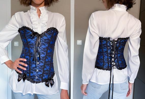 Blue Vintage Victorian Goth Corset / Blue Corset … - image 1
