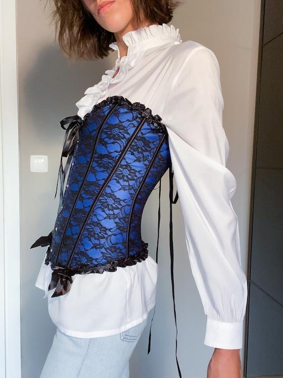 Blue Vintage Victorian Goth Corset / Blue Corset … - image 3