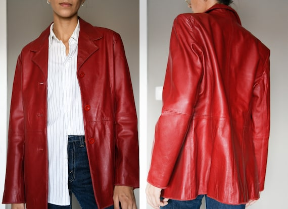Red Leather Vintage Jacket / Real Leather Vintage