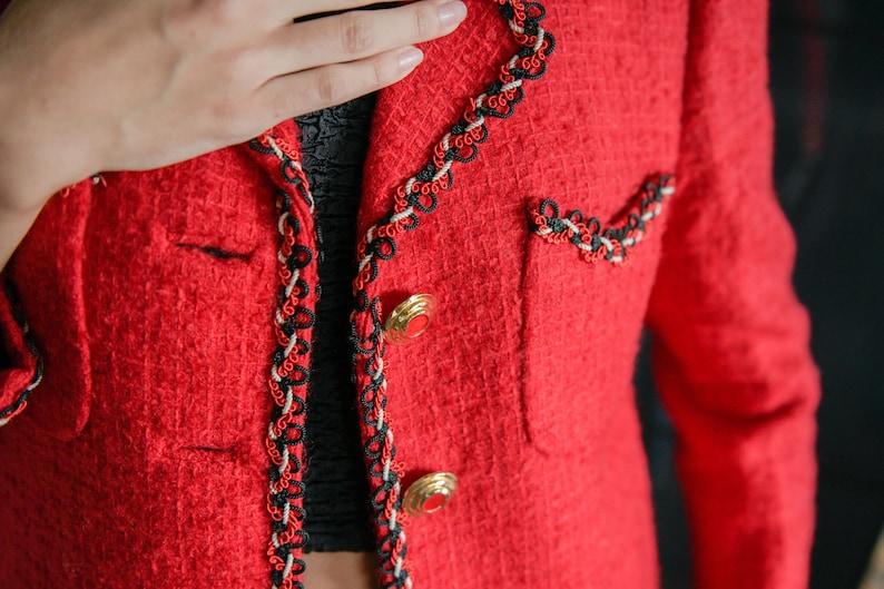 Red Vintage Retro Blazer Jacket  Golden Buttons Vintage Red Jacket  Retro Grandma Jacket  Red Vintage blazer