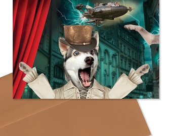 Dramatic Husky - Steampunk Husky - Panicked Husky - Blank Greeting Card