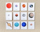 Editable Solar System 3 Part Cards & Quiz Cards - Light Background, Printable