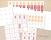 Printable Montessori Cards & Counters Bundle - 4-part cards, quiz cards, number and counter control chart