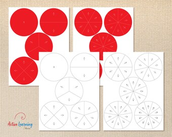 photograph relating to Printable Fraction Circles identified as Portion circles Etsy