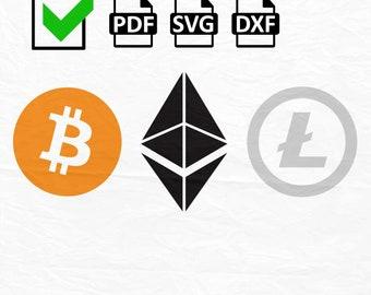 Bitcoin Svg, Ethereum Svg Logo, Litecoin Svg Logo, Bitcoin PDF/ SVG/DXF