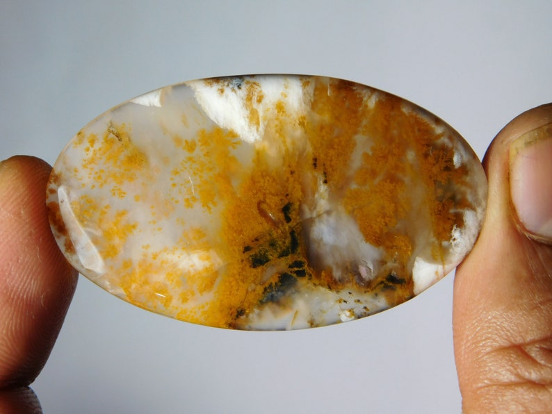 mm. Top quality Dendritic moss agate Gemstone 100/% Natural Dendritic moss agate cabochon loose stone very beautiful designs 26Cts. 34X22