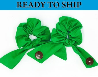 Solid Green Scrunchie Hair Tie Ear Saver, Ear Savers Face Mask Connector, Ear Guard, Elastic Mask Extender, Ear Saver with Buttons
