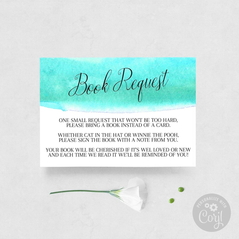 Beach Watercolor Book Request Card Baby Shower Bring a Book  \u2022 INSTANT DOWNLOAD \u2022 Printable 100/% Editable Template \u2022 Try Before You Buy!