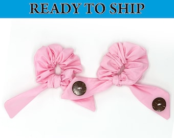 Soft Pastel Pink Scrunchie Hair Tie Ear Saver, Ear Savers Face Mask Connector, Ear Guard, Elastic Mask Extender, Ear Saver with Buttons