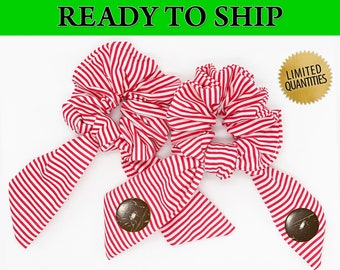 Candy Cane Christmas Winter Scrunchie Hair Tie Ear Saver, Seasonal Holiday Elastic Mask Extender, Seasonal Ear Saver with Buttons